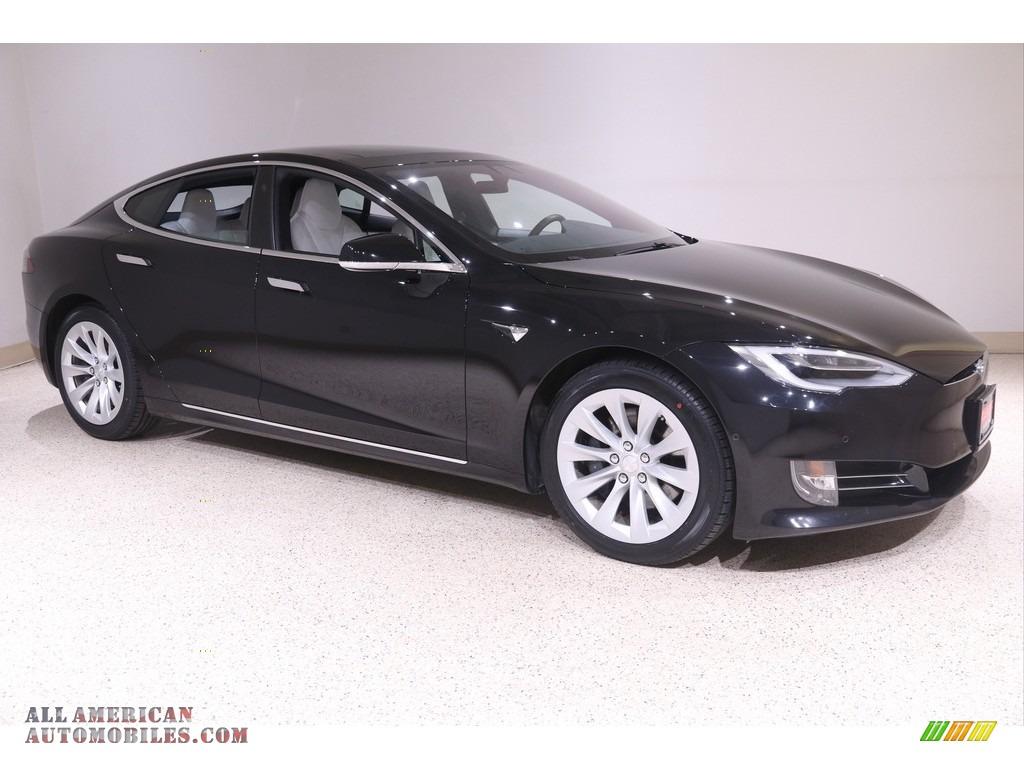 2018 Model S 75D - Obsidian Black Metallic / White photo #1