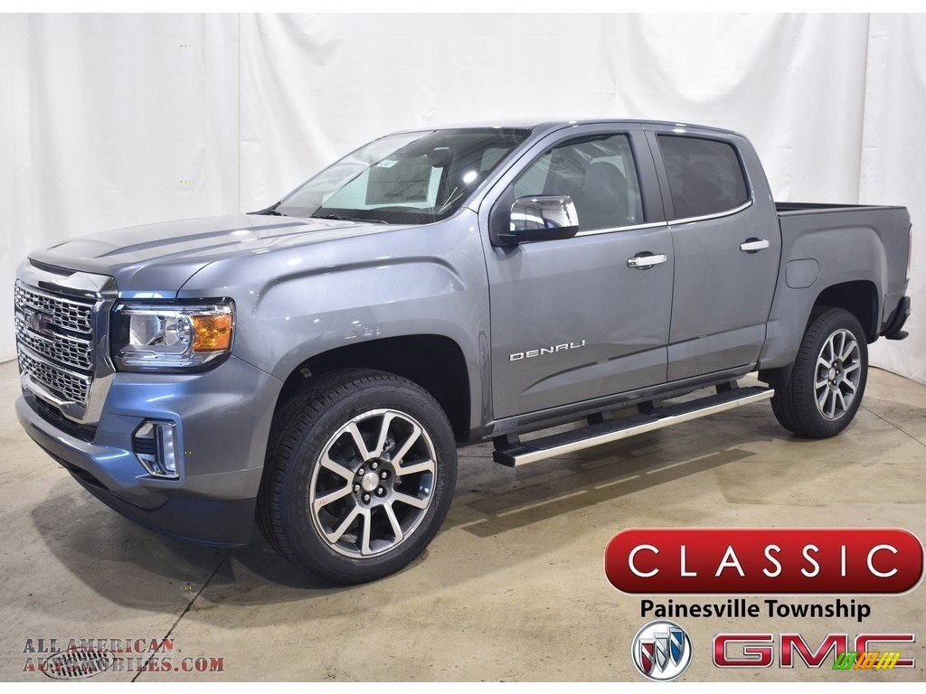 2021 Canyon Denali Crew Cab 4WD - Satin Steel Metallic / Cocoa/Dark Atmosphere photo #1