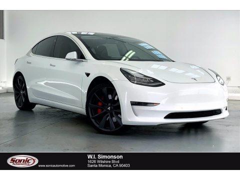 Pearl White Multi-Coat 2020 Tesla Model 3 Performance