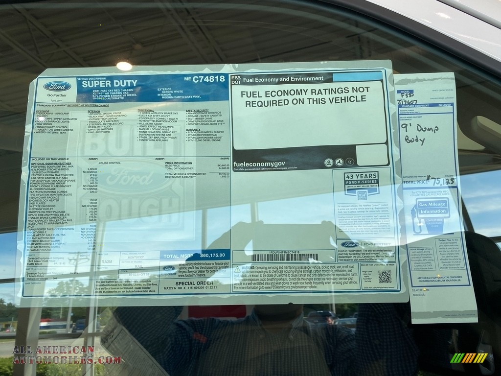 2021 F550 Super Duty XL Regular Cab 4x4 Chassis Dump Truck - Oxford White / Medium Earth Gray photo #19