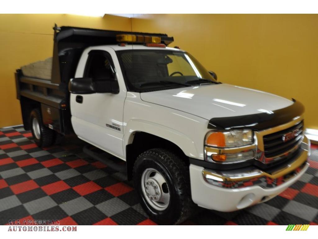 ... White / Pewter GMC Sierra 3500 SLE Regular Cab 4x4 Dually Dump Truck