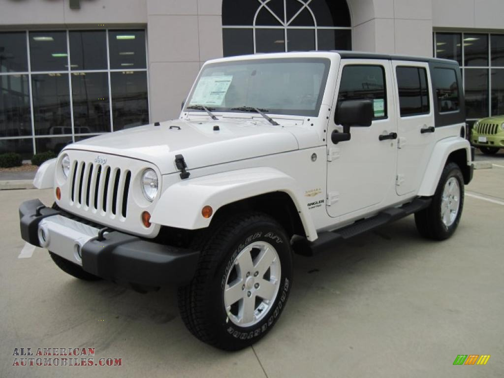 2010 jeep wrangler unlimited sahara 4x4 in stone white 193619 all american automobiles buy. Black Bedroom Furniture Sets. Home Design Ideas