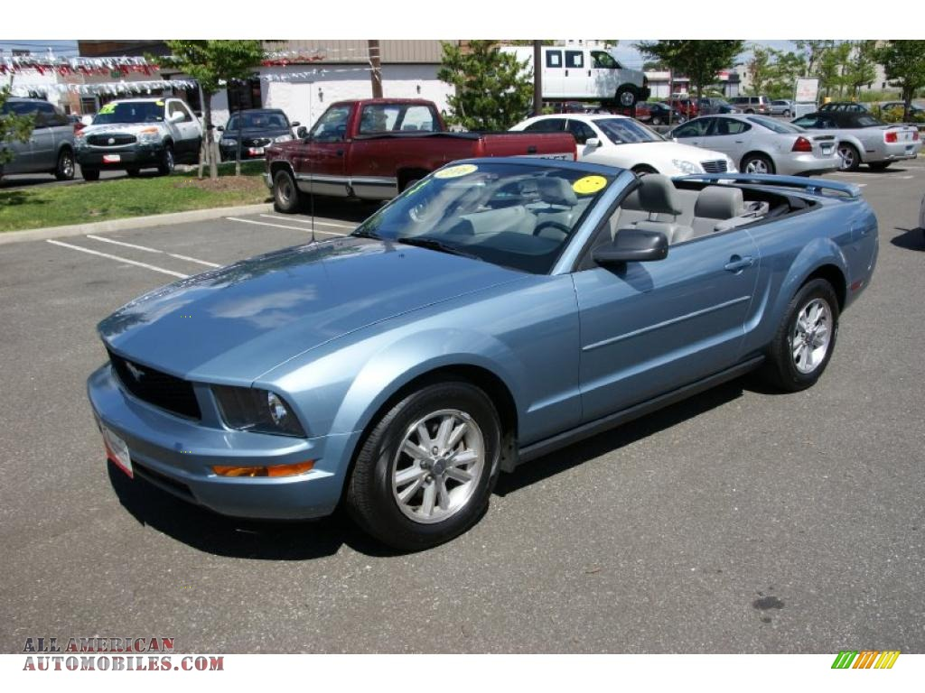 ford mustang  premium convertible  windveil blue metallic photo