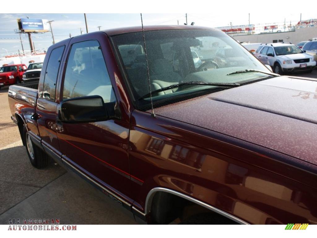 1996 Sierra 1500 SLE Extended Cab 4x4 - Dark Hunt Club Red Metallic ...