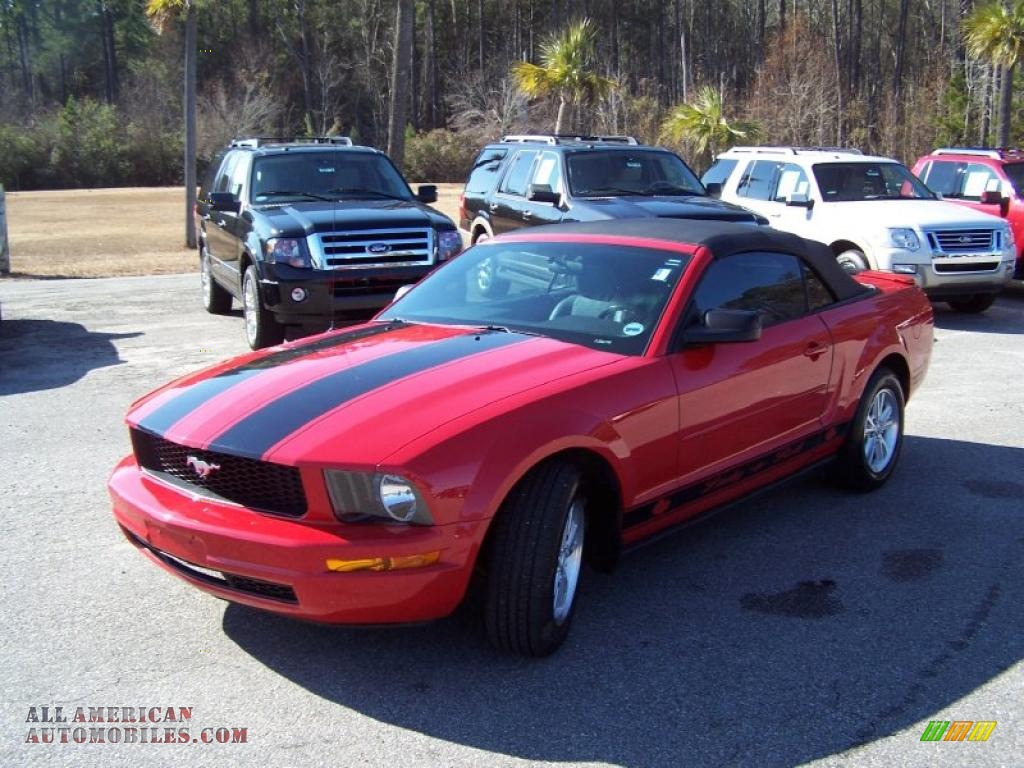 2007 mustang v6 premium convertible torch red dark charcoal photo 1