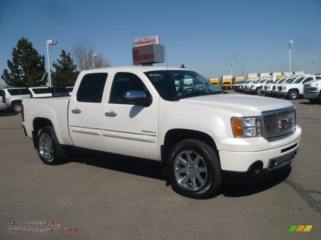 2010 gmc sierra 1500 denali crew cab awd in white diamond tricoat 189940 all american. Black Bedroom Furniture Sets. Home Design Ideas