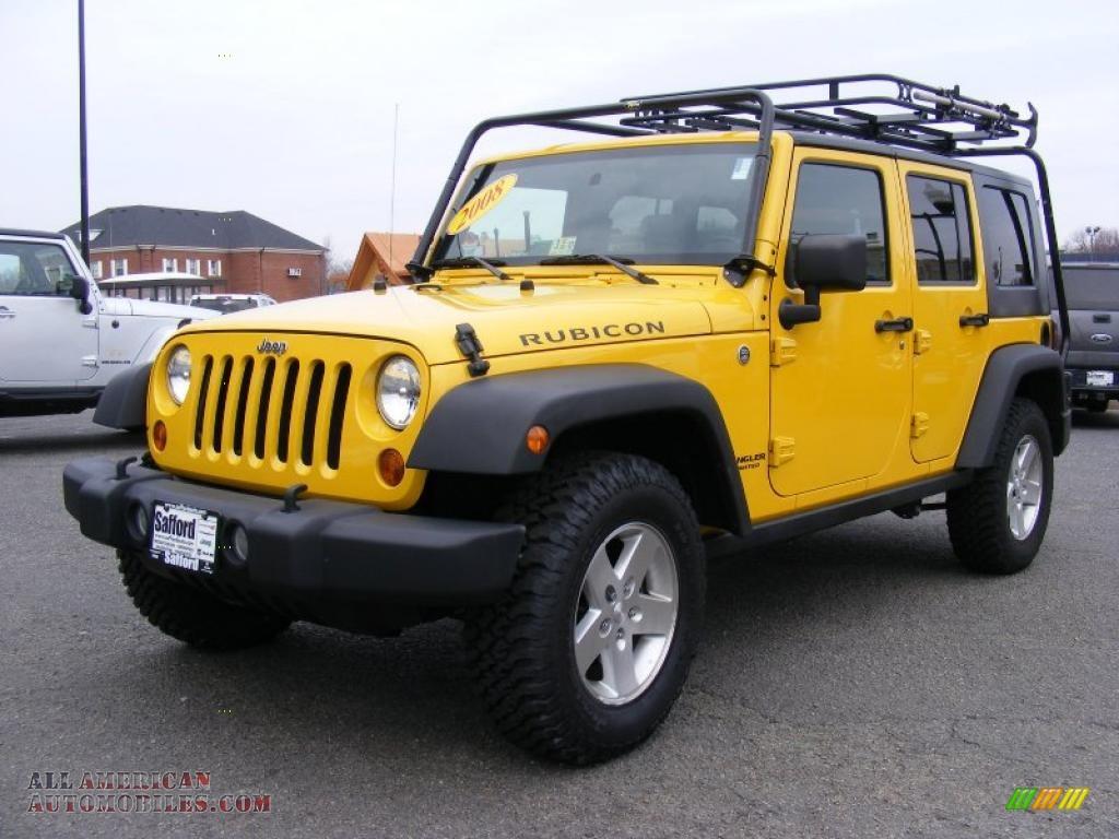 2008 jeep wrangler unlimited rubicon 4x4 in detonator yellow 591159 all american automobiles. Black Bedroom Furniture Sets. Home Design Ideas