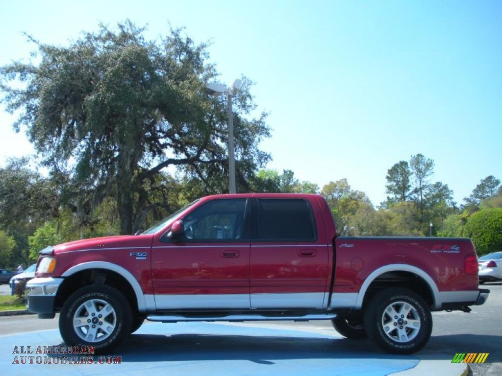 2002 ford f150 lariat supercrew 4x4 in toreador red metallic photo 2 b92443 all american. Black Bedroom Furniture Sets. Home Design Ideas