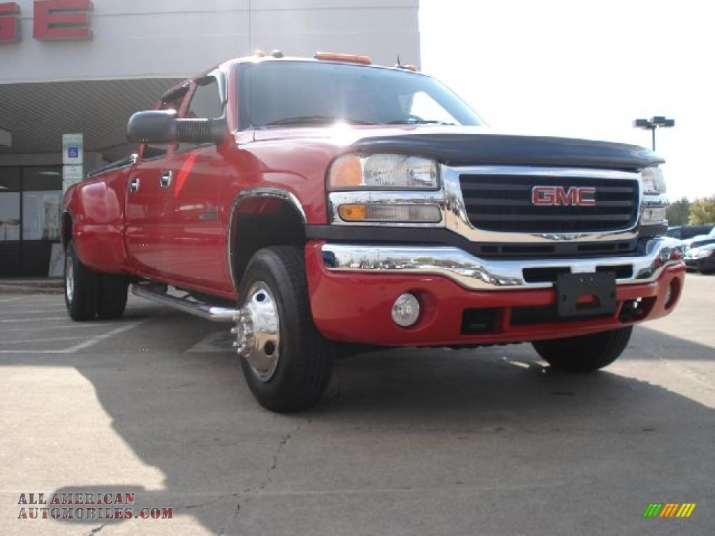 Sierra 3500 SLT Crew Cab 4x4 Dually - Victory Red / Pewter photo #1