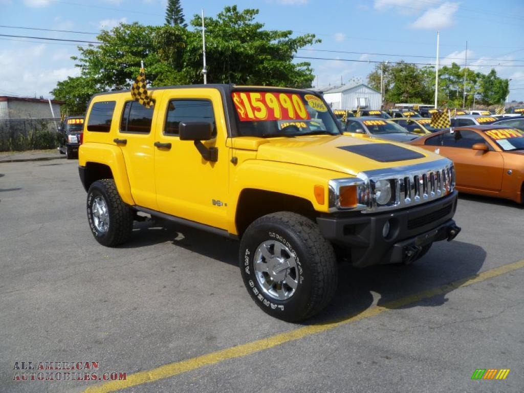 2006 hummer h3 in yellow 101285 all american automobiles buy american cars for sale in america. Black Bedroom Furniture Sets. Home Design Ideas