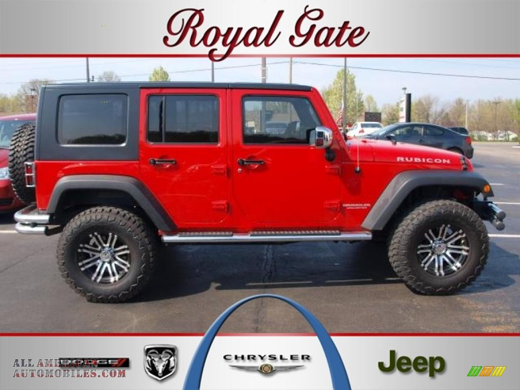2008 jeep wrangler unlimited rubicon 4x4 in flame red for Royal chrysler motors inc