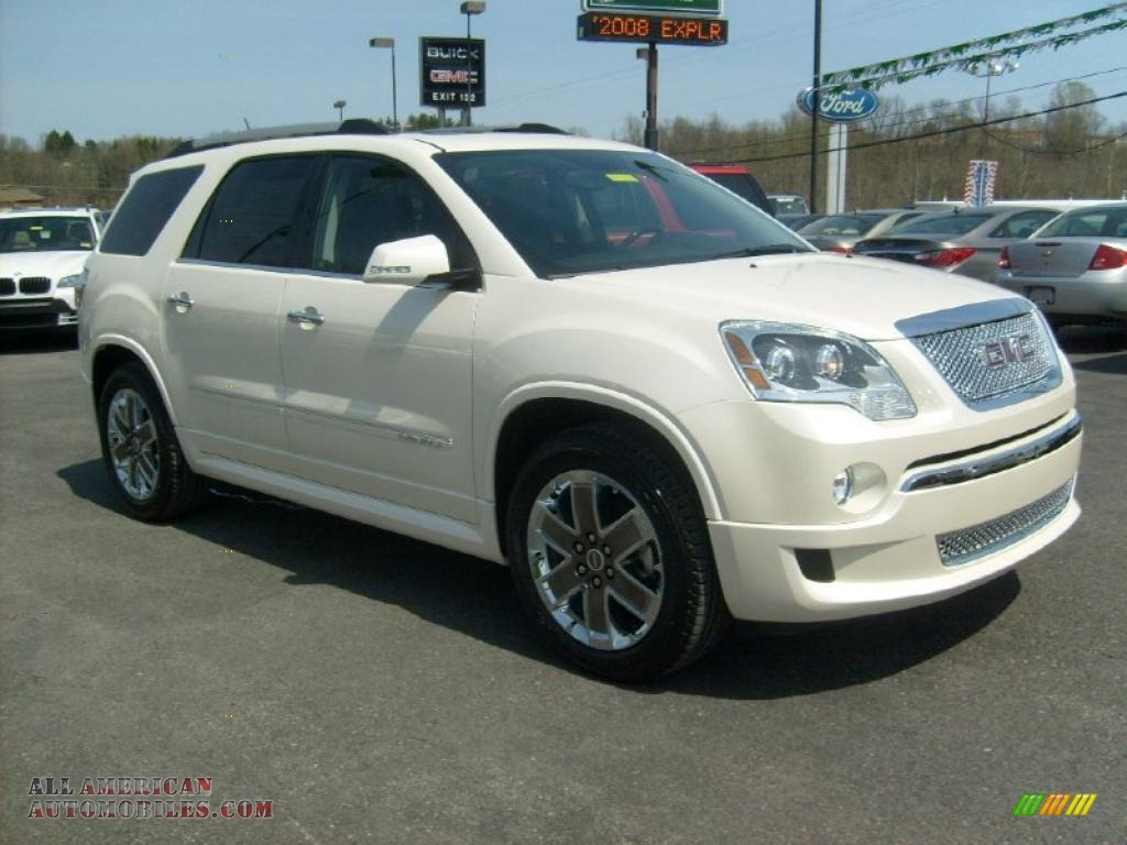 2011 gmc acadia denali awd in white diamond tintcoat 342109 all american automobiles buy. Black Bedroom Furniture Sets. Home Design Ideas