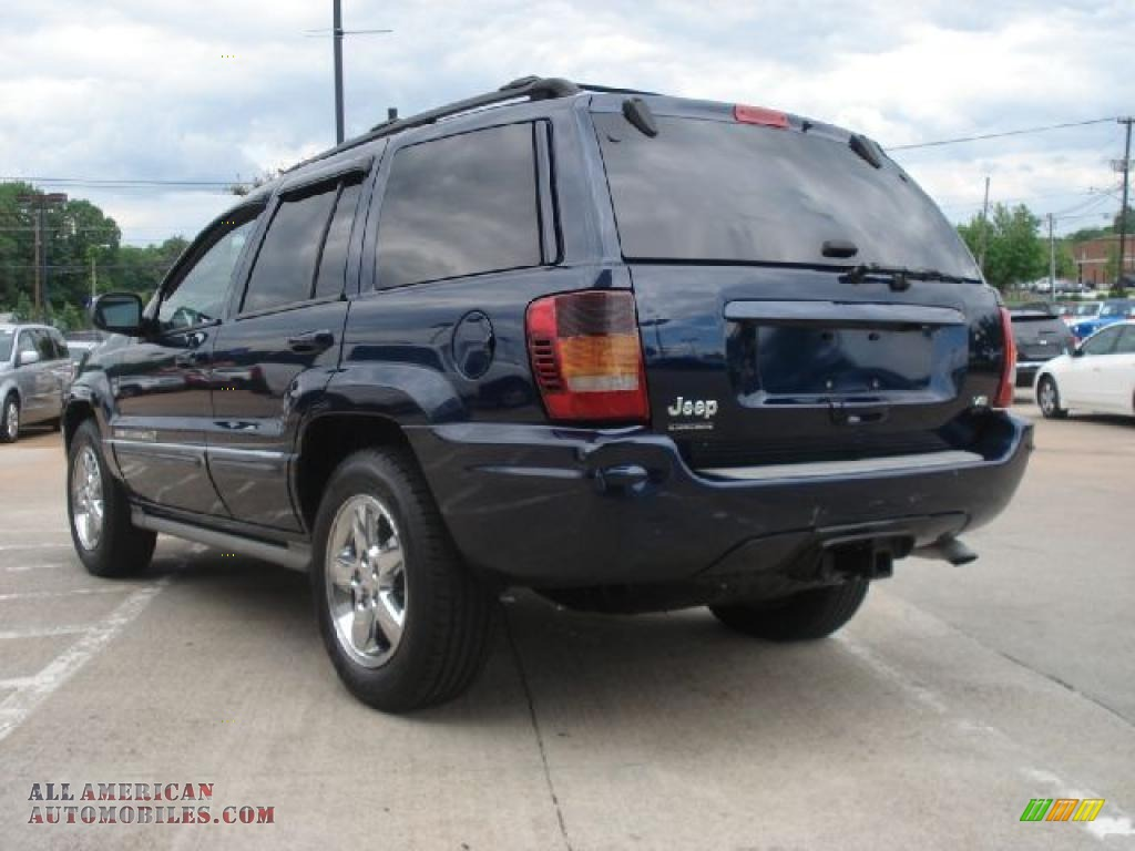 2004 jeep grand cherokee overland 4x4 in midnight blue pearl photo 5 139174 all american. Black Bedroom Furniture Sets. Home Design Ideas