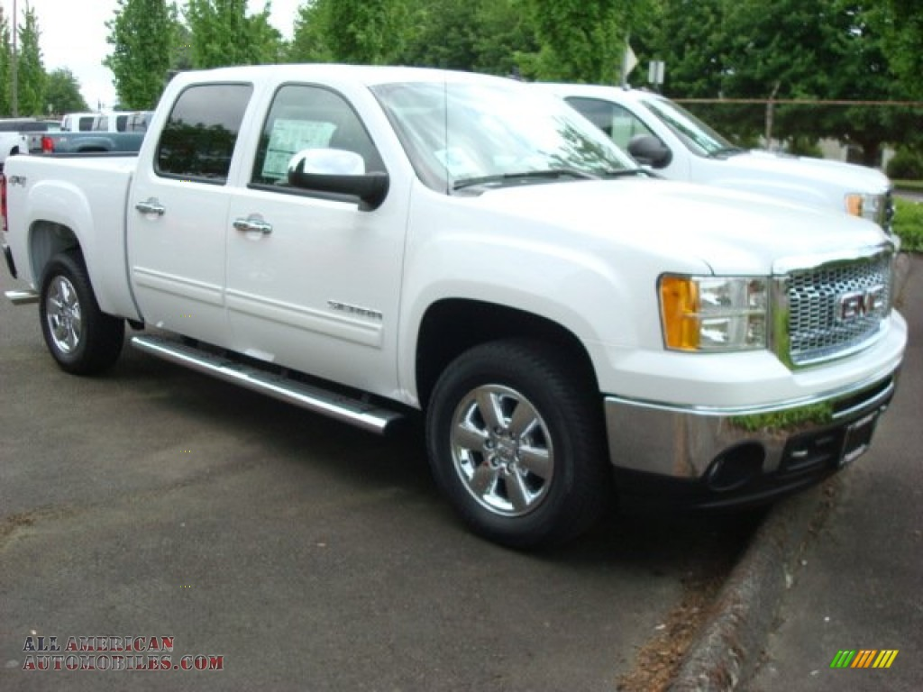 Superb img of 2011 GMC Sierra 1500 SLE Crew Cab 4x4 in Summit White 289846 All  with #436533 color and 1024x768 pixels