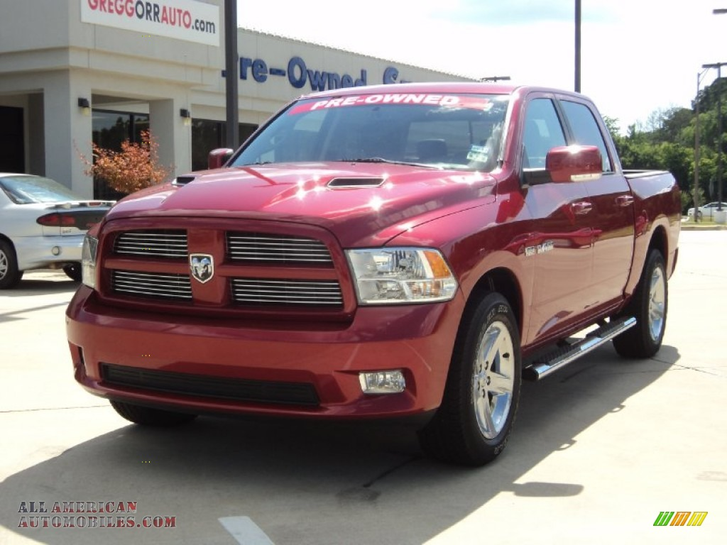 2010 ram 1500 sport crew cab inferno red crystal pearl dark slate gray photo