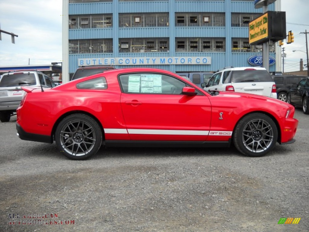 2012 ford mustang shelby gt500 svt performance package coupe in race red 229793 all american. Black Bedroom Furniture Sets. Home Design Ideas