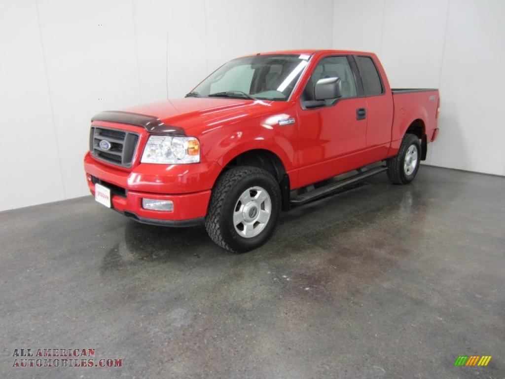 2004 Ford F150 Stx Supercab 4x4 In Bright Red B82813 All F 150 Dark Flint Photo 1
