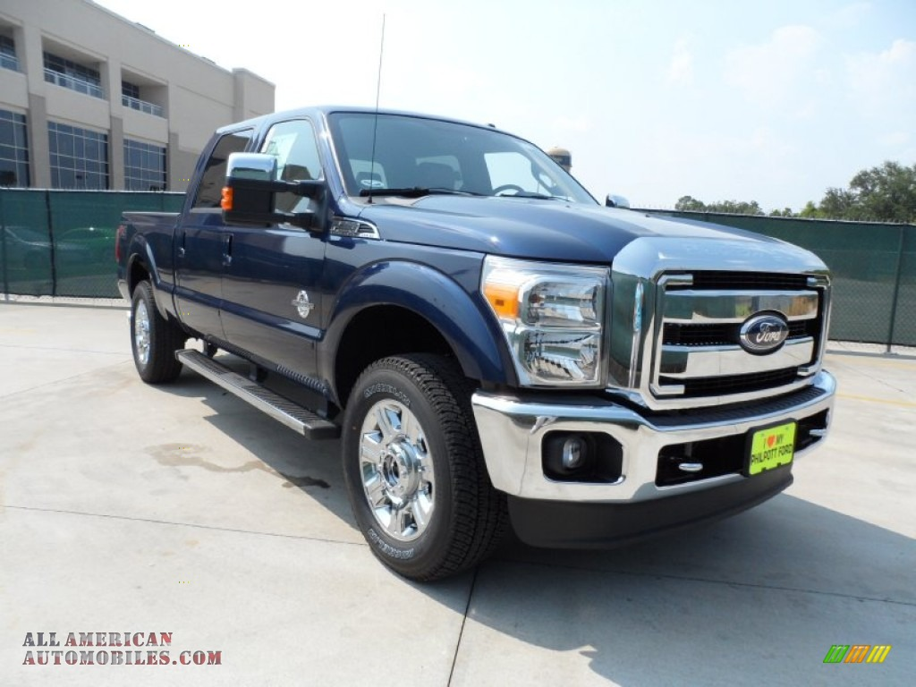 F250 Super Duty Lariat Crew Cab 4x4 - Dark Blue Pearl Metallic / Black