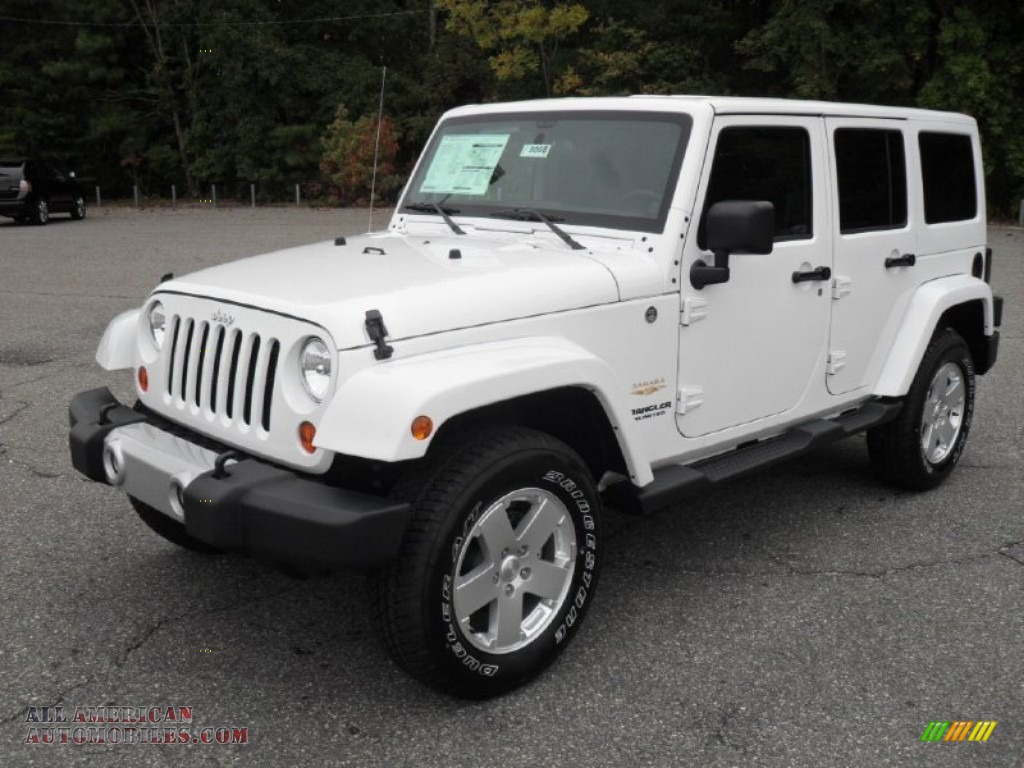 2012 jeep wrangler unlimited sahara 4x4 in bright white 141863 all american automobiles. Black Bedroom Furniture Sets. Home Design Ideas