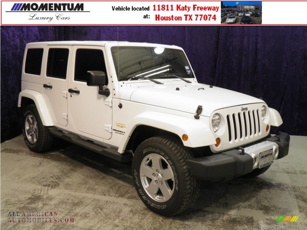 2011 jeep wrangler unlimited sahara 4x4 in bright white 569962 all american automobiles. Black Bedroom Furniture Sets. Home Design Ideas