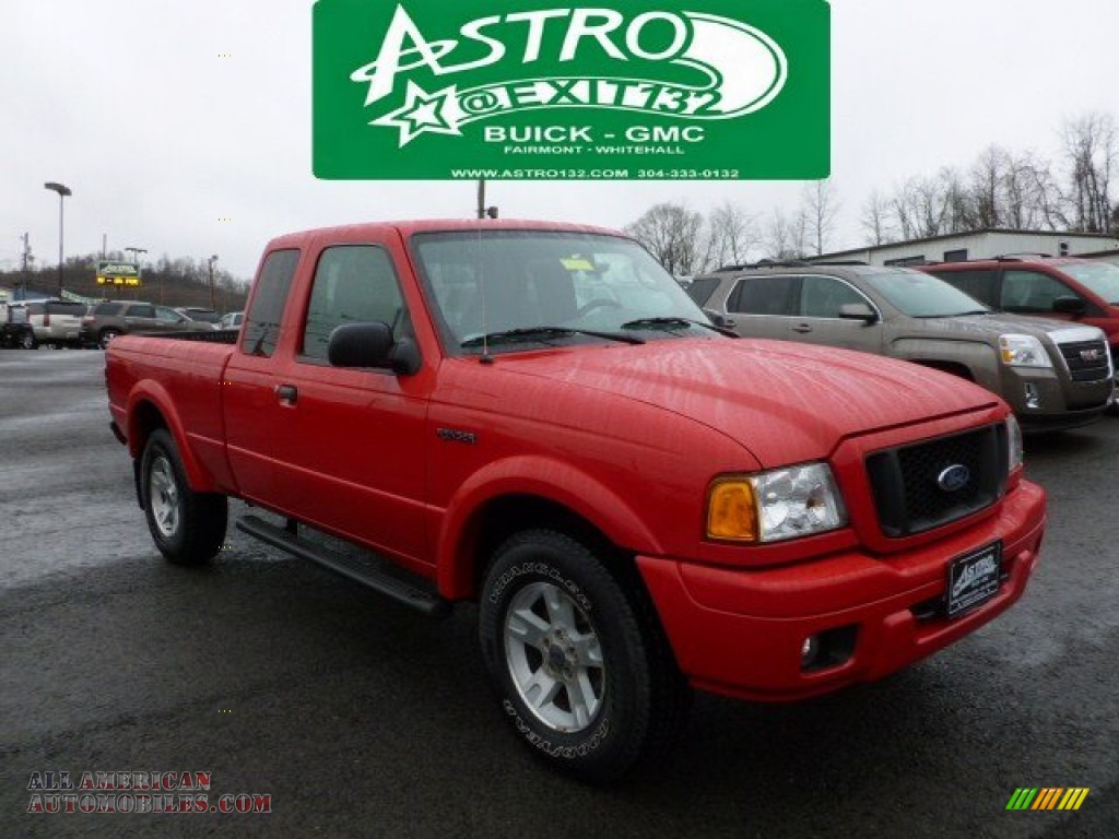 2004 ford ranger edge supercab 4x4 in bright red a16265 all american automobiles buy. Black Bedroom Furniture Sets. Home Design Ideas
