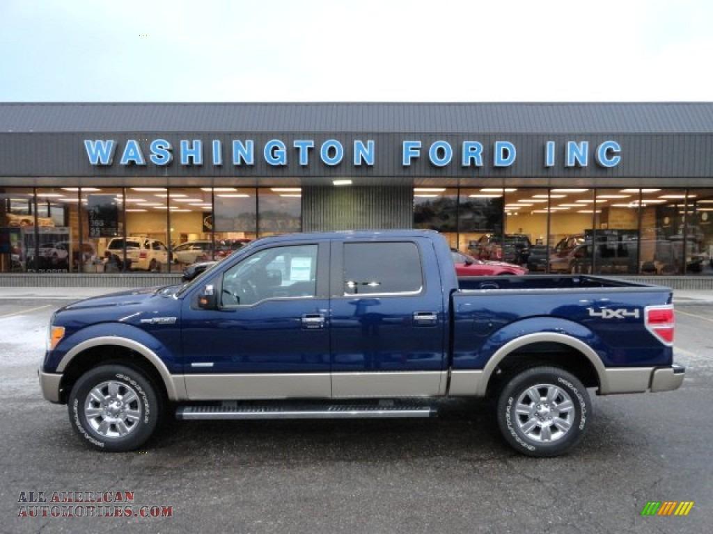 2012 ford f150 lariat supercrew 4x4 in dark blue pearl metallic a03351 all american. Black Bedroom Furniture Sets. Home Design Ideas