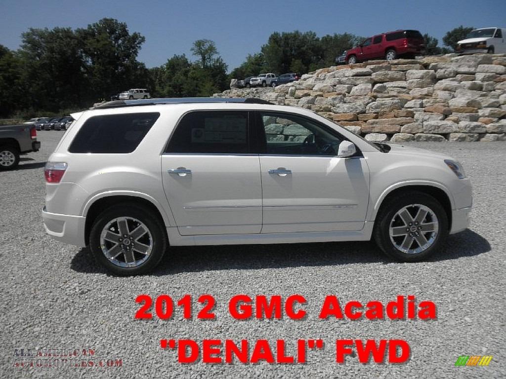 2012 gmc acadia denali in white diamond tricoat 330183 all american automobiles buy. Black Bedroom Furniture Sets. Home Design Ideas