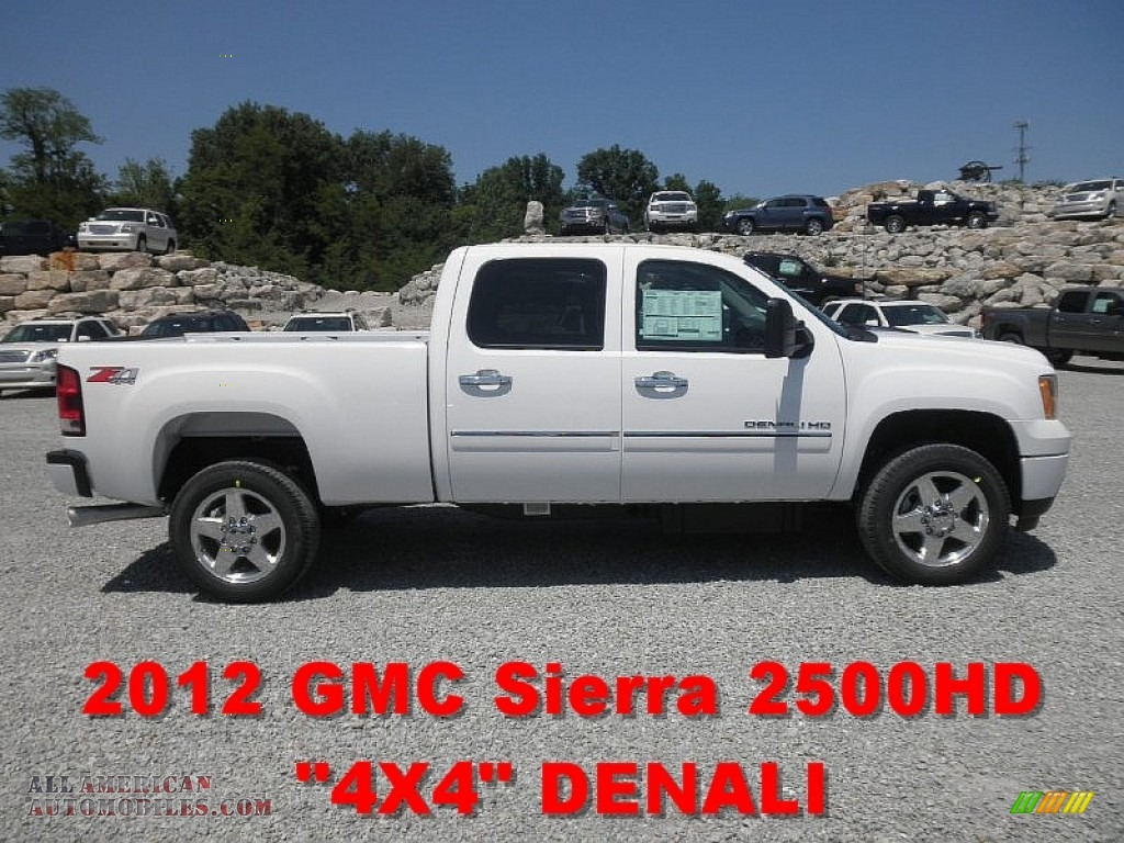 2012 gmc sierra 2500hd denali crew cab 4x4 in summit white 225746 all american automobiles. Black Bedroom Furniture Sets. Home Design Ideas