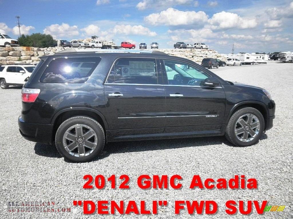 2012 gmc acadia denali in carbon black metallic 292170 all american automobiles buy. Black Bedroom Furniture Sets. Home Design Ideas