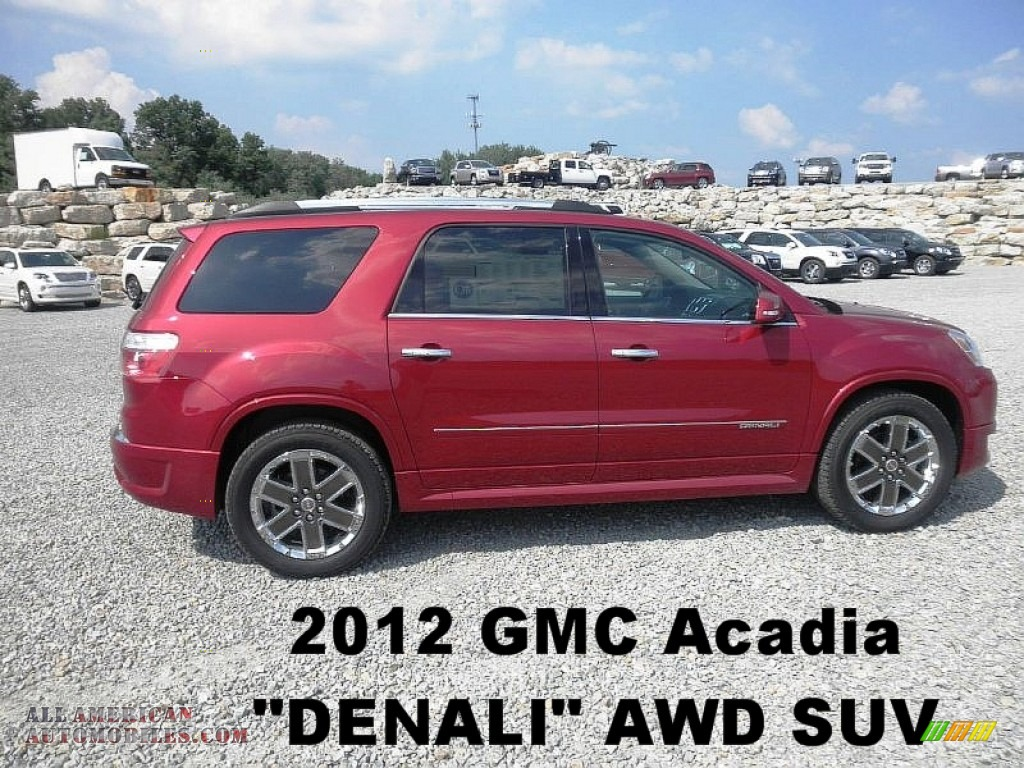 2012 gmc acadia denali awd in crystal red tintcoat 354260 all american automobiles buy for 2012 gmc acadia denali interior