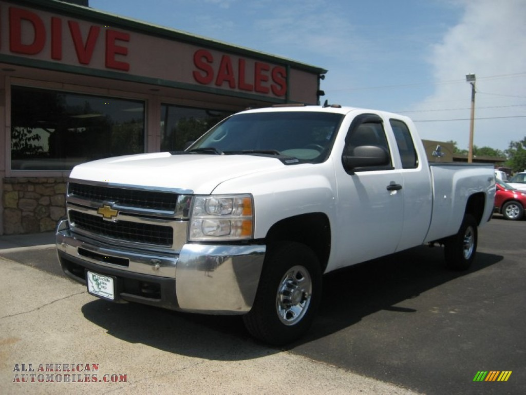 2008 chevrolet silverado 2500hd work truck extended cab 4x4 in summit white 141258 all. Black Bedroom Furniture Sets. Home Design Ideas