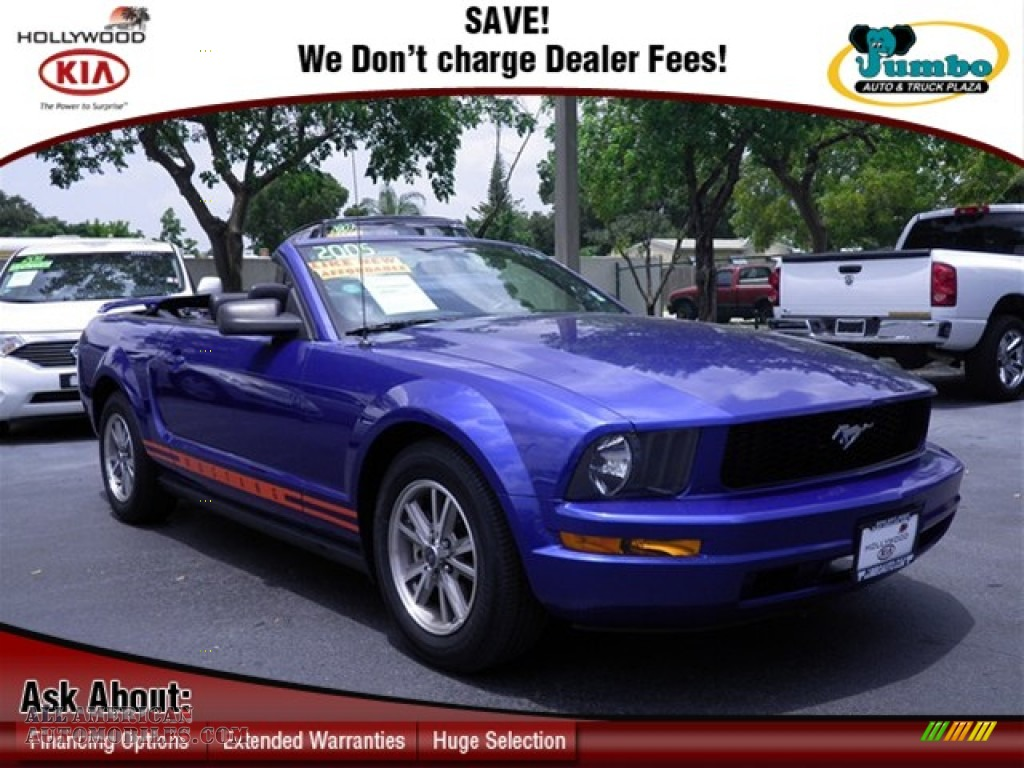 2005 ford mustang v6 premium convertible in sonic blue metallic 250564 all american. Black Bedroom Furniture Sets. Home Design Ideas