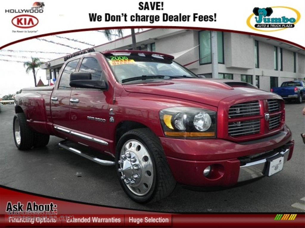 2006 dodge ram 3500 laramie quad cab dually in inferno red crystal pearl 216877 all american. Black Bedroom Furniture Sets. Home Design Ideas