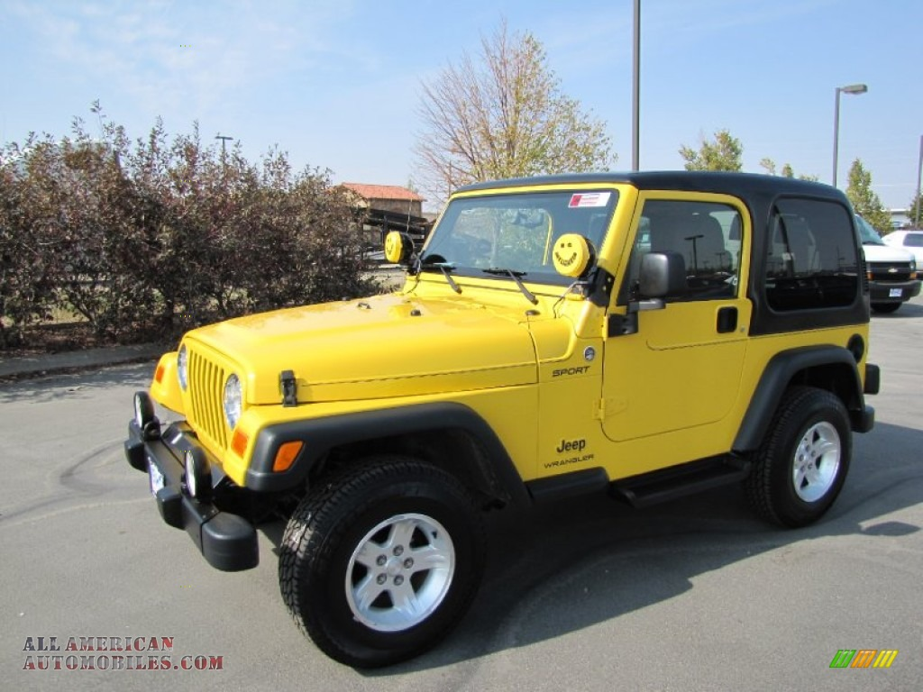 2006 jeep wrangler sport 4x4 in solar yellow 718272 all american automobiles buy american. Black Bedroom Furniture Sets. Home Design Ideas