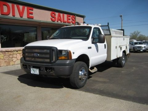 Oxford White 2007 Ford F350 Super Duty XL Regular Cab Dually Utility Truck