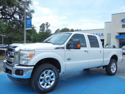 White Platinum Metallic Tri-Coat 2013 Ford F350 Super Duty Lariat Crew Cab 4x4