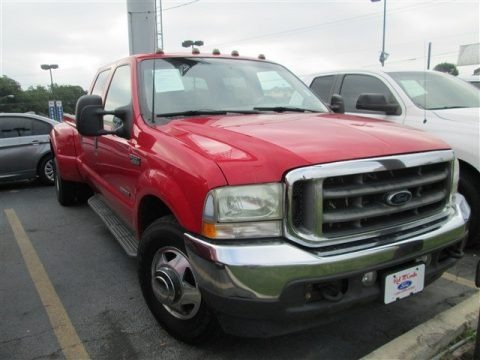 Red 2002 Ford F350 Super Duty Lariat Crew Cab Dually