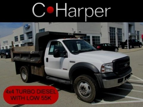 Oxford White 2007 Ford F550 Super Duty XL Regular Cab 4x4 Dump Truck