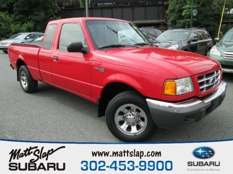 Bright Red 2002 Ford Ranger XLT SuperCab