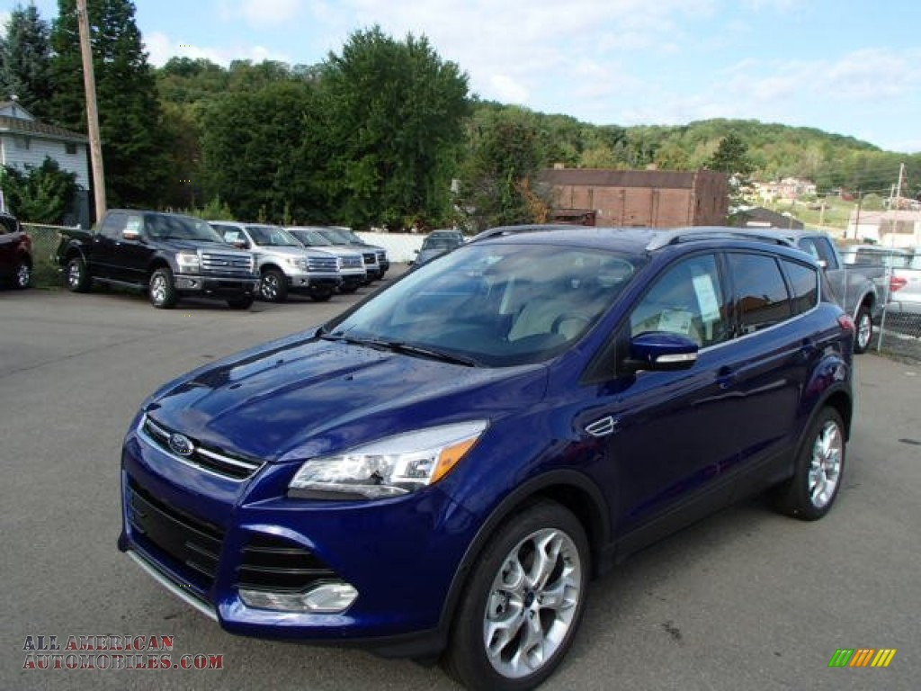 Deep impact blue medium light stone ford escape titanium 2 0l ecoboost 4wd