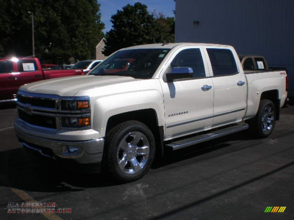 2014 chevrolet silverado 1500 ltz crew cab 4x4 in white diamond tricoat 130692 all american. Black Bedroom Furniture Sets. Home Design Ideas