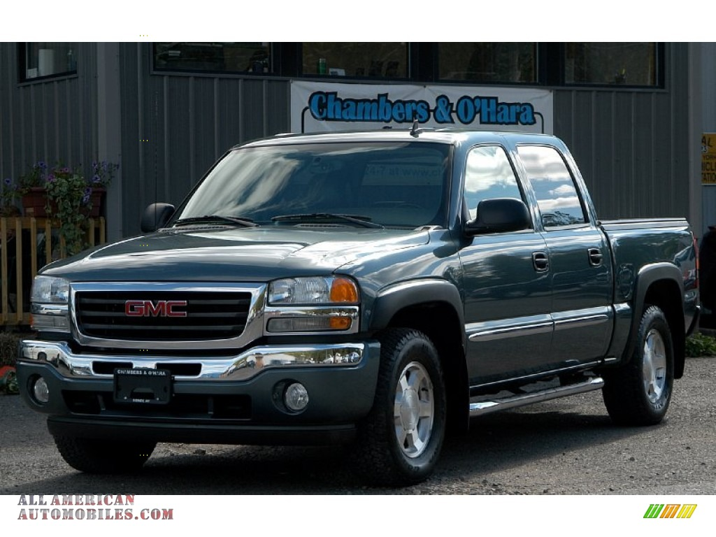 2006 gmc sierra 1500 slt z71 crew cab 4x4 in stealth gray metallic 166763 all american. Black Bedroom Furniture Sets. Home Design Ideas