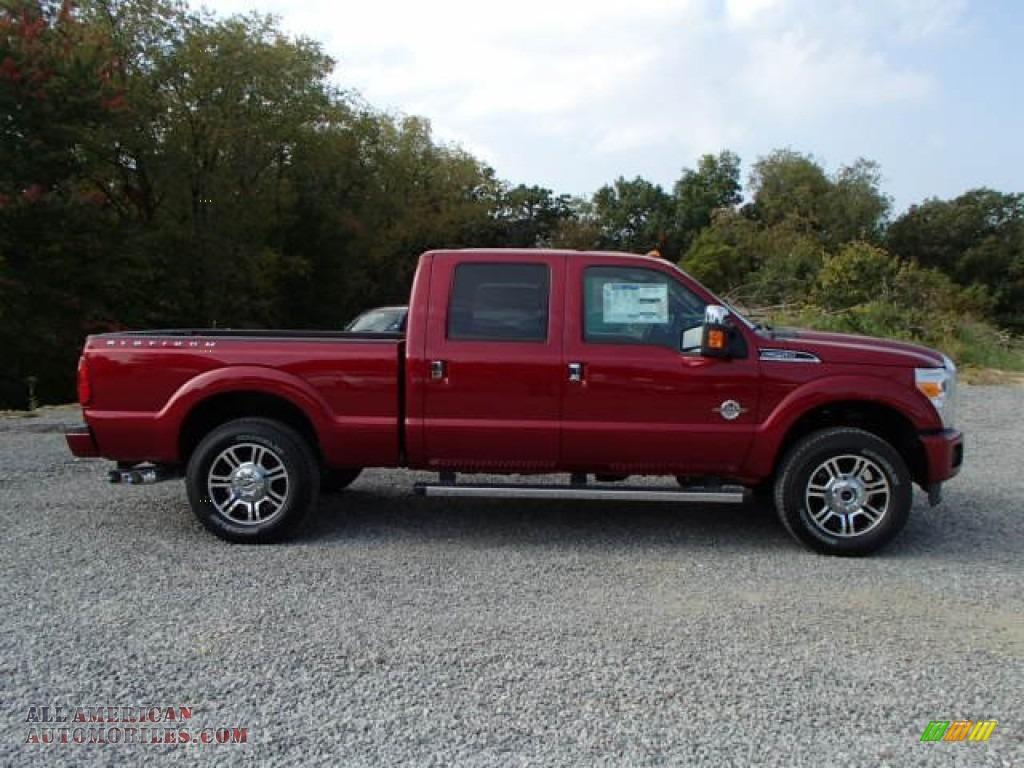 Ruby red metallic platinum black leather ford f250 super duty platinum crew cab 4x4