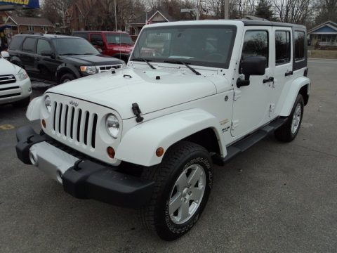 bright white jeep wrangler unlimited sahara 4x4 for sale all american automobiles buy. Black Bedroom Furniture Sets. Home Design Ideas