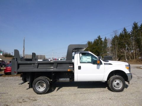 Oxford White 2014 Ford F350 Super Duty XL Regular Cab 4x4 Dump Truck