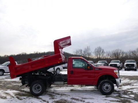 Vermillion Red 2014 Ford F350 Super Duty XL Regular Cab 4x4 Dump Truck