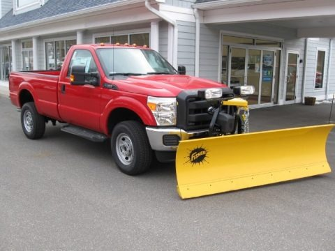Vermillion Red 2014 Ford F350 Super Duty XL Regular Cab 4x4 Plow Truck