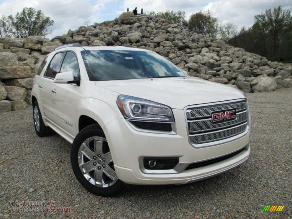 2014 gmc acadia denali awd in white diamond tricoat 342795 all american automobiles buy. Black Bedroom Furniture Sets. Home Design Ideas