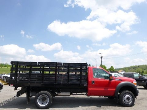 Vermillion Red 2014 Ford F550 Super Duty XL Regular Cab 4x4 Stake Truck