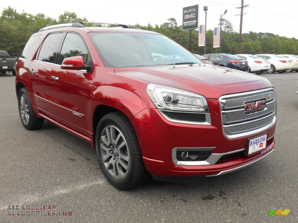 2014 gmc acadia denali awd in crystal red tintcoat 215349 all american automobiles buy. Black Bedroom Furniture Sets. Home Design Ideas